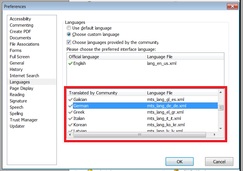 how to change foxit reader language